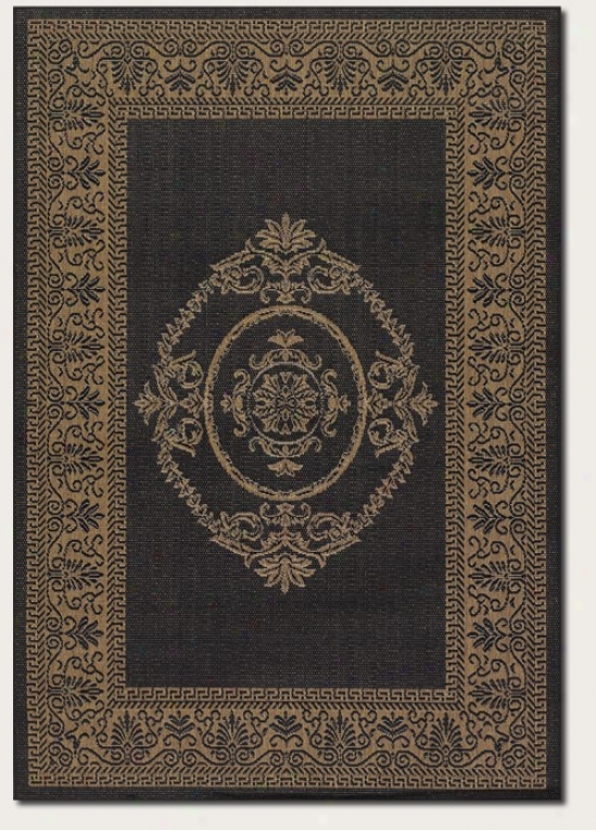 3'9&quot X 5'5&quot Area Rug Medallion Design In Black And Cocoa