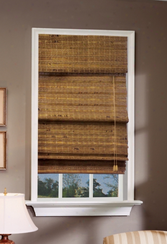39&quotw Bamboo Window Treatment Roman Shade In Pecan Finish
