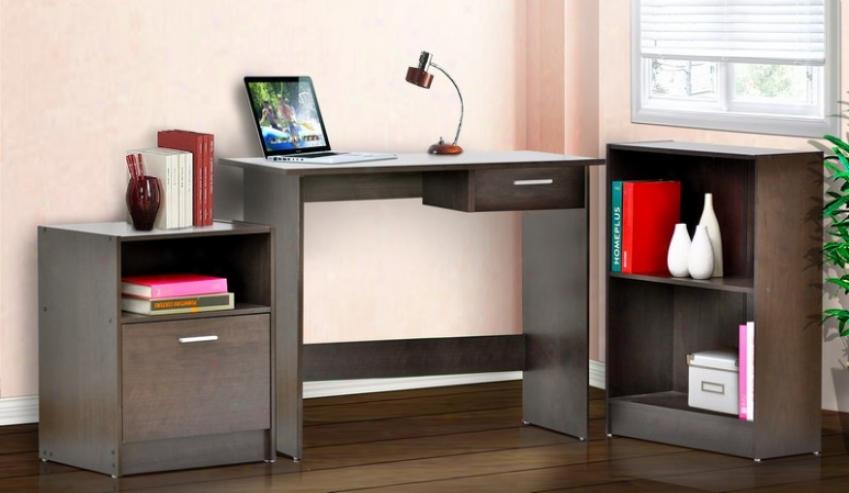 3pc Home Office Computer Desk With Bookcase In Espresso Finish