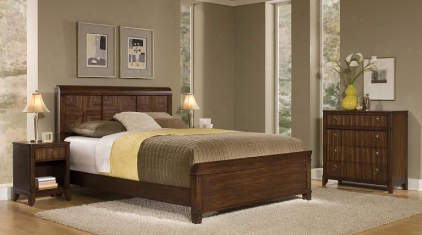"""""""3pc Queen Bigness Bed, Nightstand And Storage Chest Set In Mahogany Finish"""""""