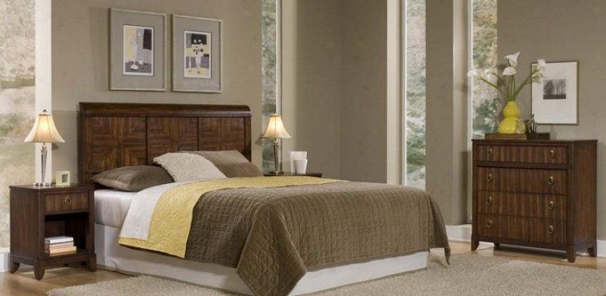 """""""3pc Queen Size Headboard, Nightstand And Storage Chest Set In Mahogany Finish"""""""