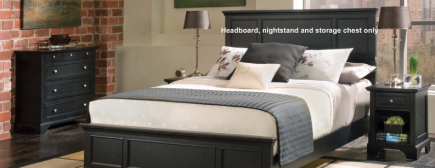 """""""3pc Queen Size Headboard, Nightstand And Storage Chest Set In Ebony Finish"""""""
