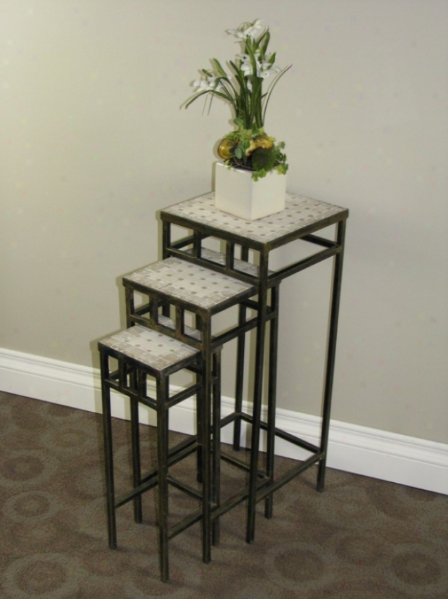 3pc Slate Square Plant Stands With Travertine Tops