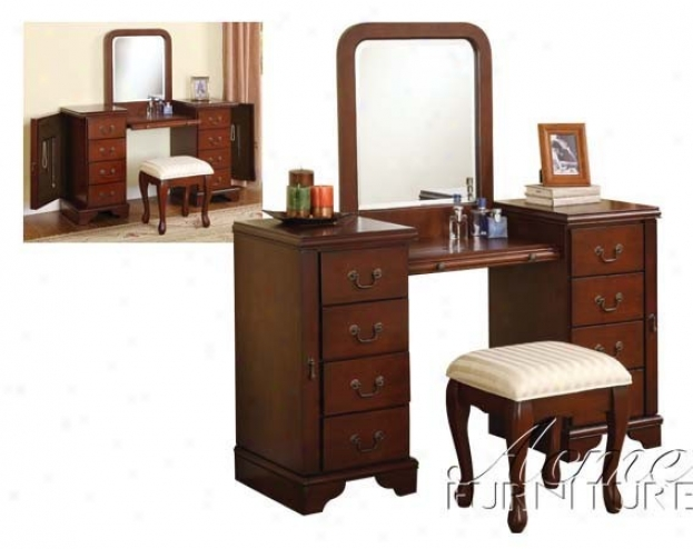 """""""3pc Vanity Table, Mirror & Stool Set In Cherry Finish"""""""