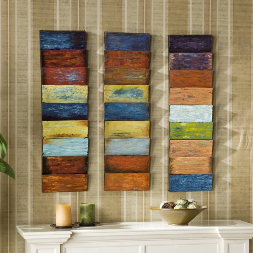 3pc Wall Panel Set Hue Layered Design In Hand Painted Finish