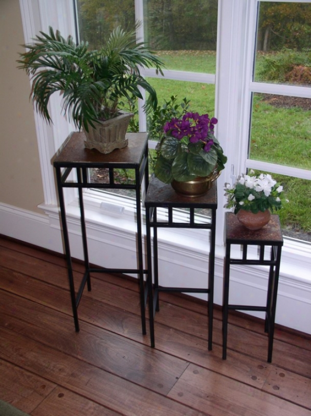 3pcs Tuscan Style Metal Plant Standx With Slate Tops