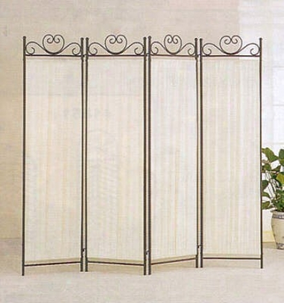 4 Panel Elegant Ivory Fabric Metal Frame Room Divider Screen