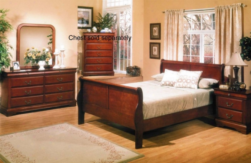 4 Pcs California King Sleigh Bed Bedroom Set With Traditional Style Design In Brown Cherry Finish