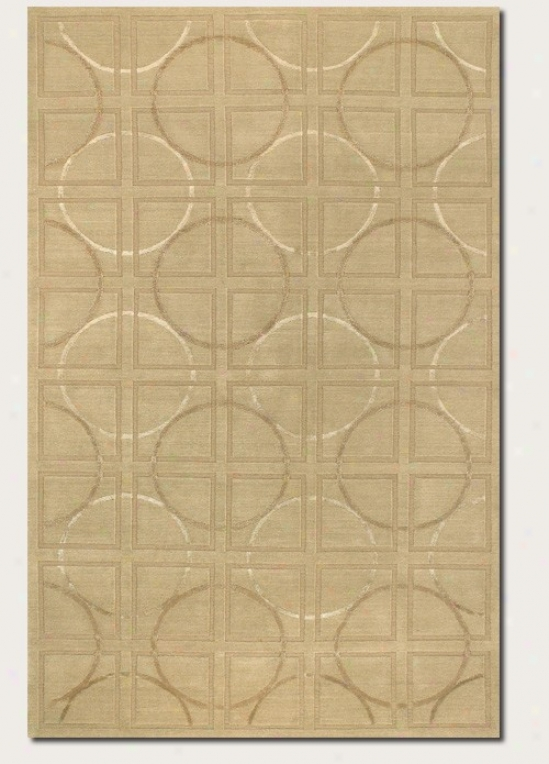4' X 6' Area Rug Circle And Square Pattern In Beige And Ivory
