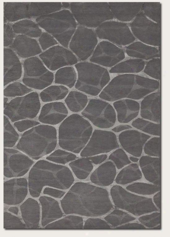 4' X 6' Area Rug Water Reflection Pattern In Grey And Silver