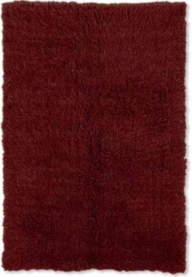 4' X 6' Flokati Area Rug - 100% Wool Burgundy Color