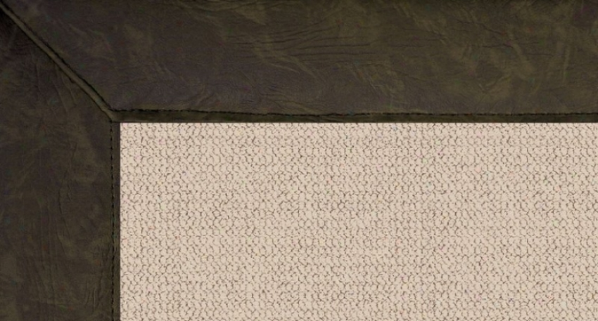 4' X 6' Original Wool Rug - Athena Agency Tufted Rug With Dark Green Leather Border