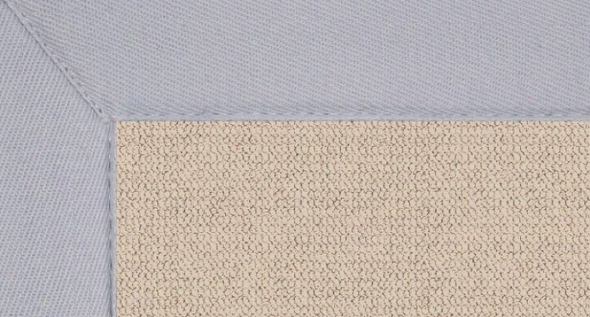 4' X 6' Natural Wool Rug - Athena Hand Tufted Rug With Ice Blue Border