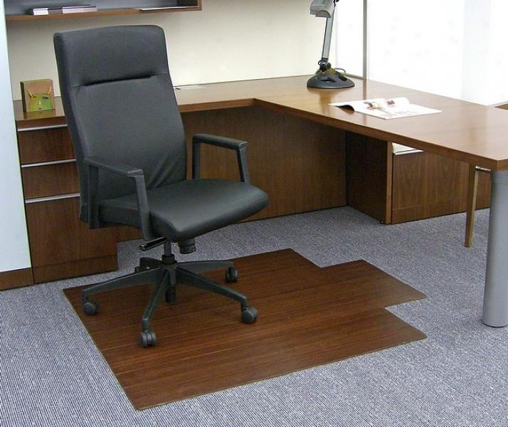 44&quot X 52&quot Cherry Roll-up Bamboo & Hardwood Office Chairman Mat