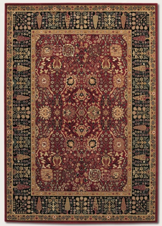4'6&quot X 6'6&quot Area Rug Classic Persian Pattern In Persian Red