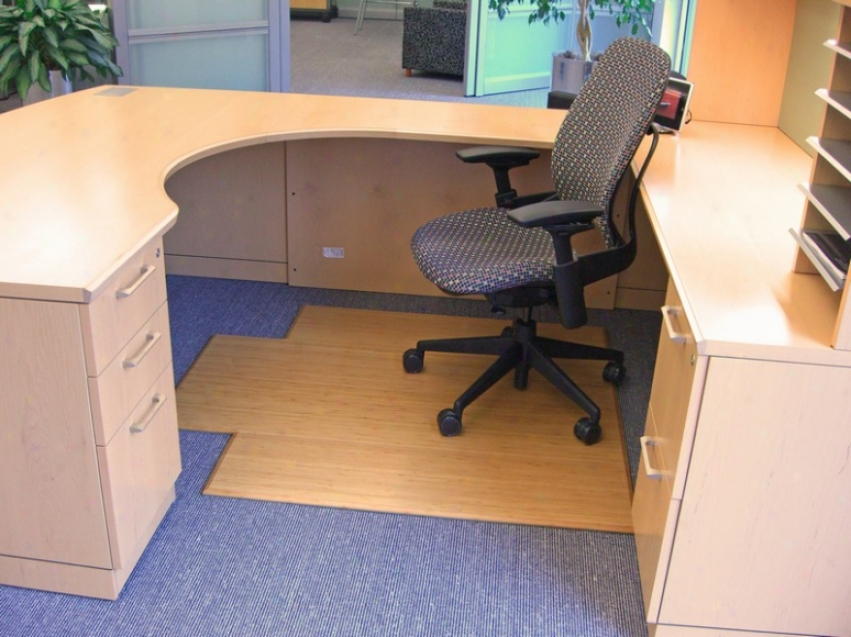 47&quot X 51&quot Natural aBmboo Tri-fold Office Chair Mat