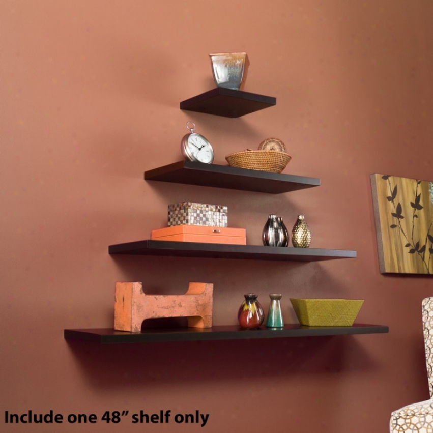 48&quot Pine Floating Wall Shelf In Espresso Polish