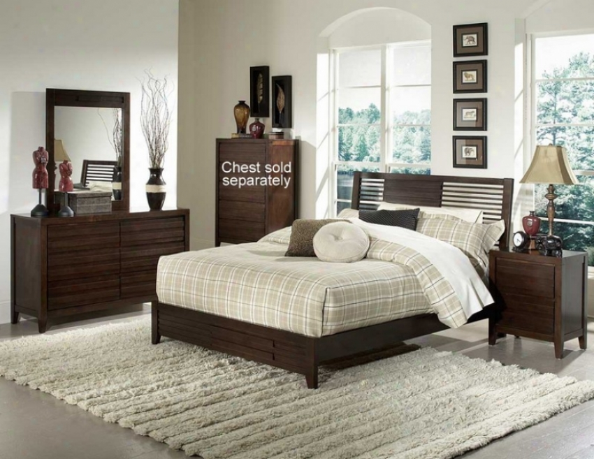 4pc California King Szie Bedroom Set Horizontal Slat Bed In Espresso