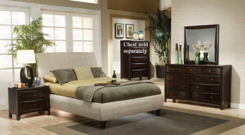 4pc California King Size Bedroom Set In Beige Fabric Cappuccino Finish