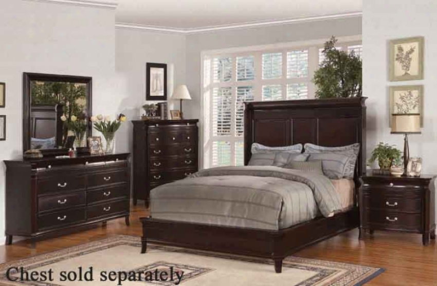 4pc Cailfornia King Size Bedroom Set In Espresso Finish