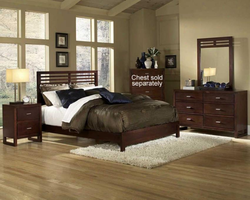 4pc California King Size Bedroom Set Slat Design Bed In Cherry