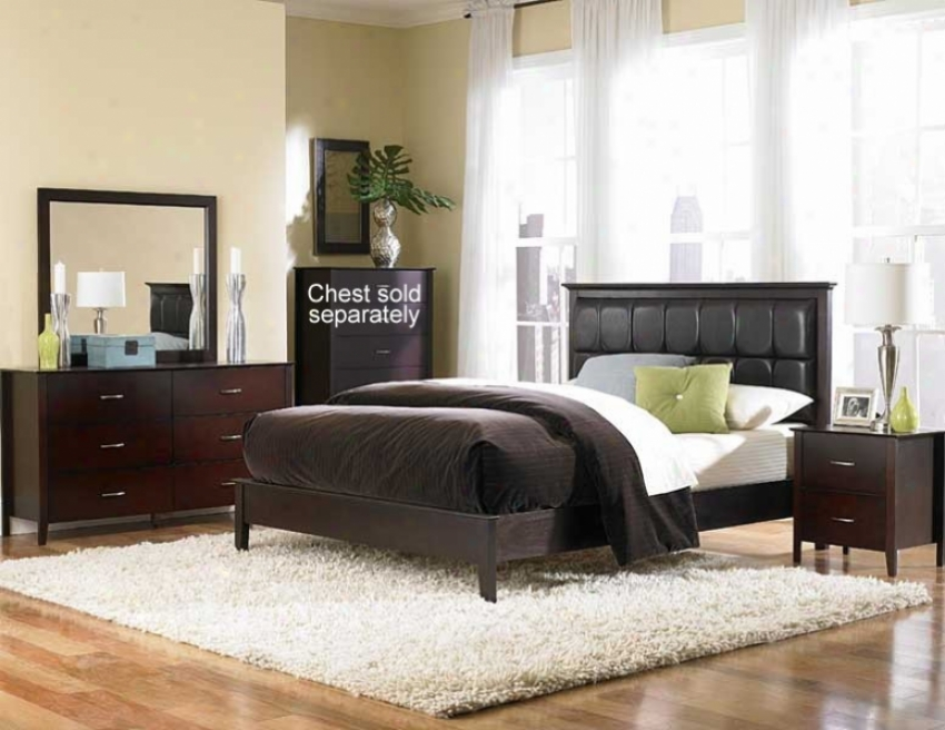 4pc California King Size Bedroom Set With Channel Tuufted Bed In Merlot