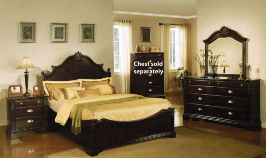 4pc California Kinng Size Bedroom Set With Leaf Carving In Espresso Finish