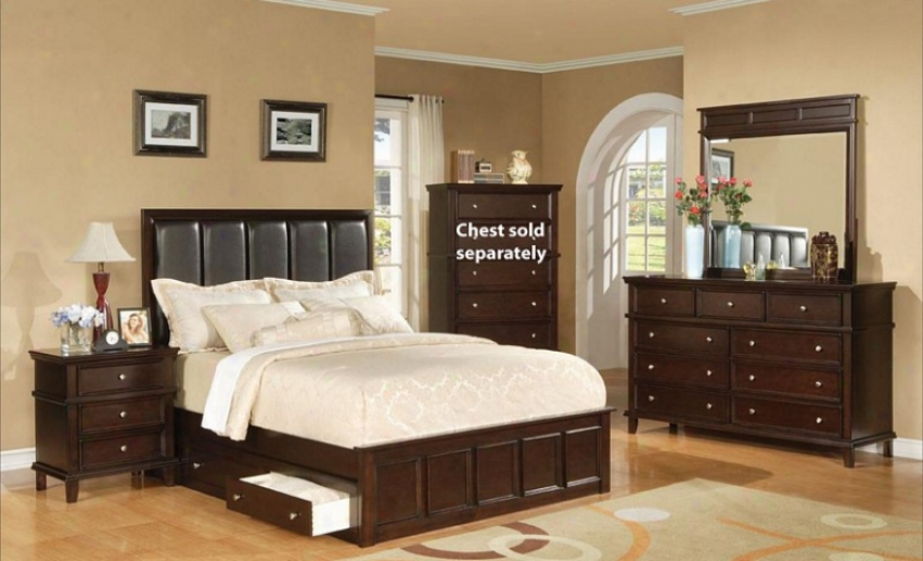 4pc California King Size Bedroom Set With Under Bed Storage Rich Cappuccino Finish