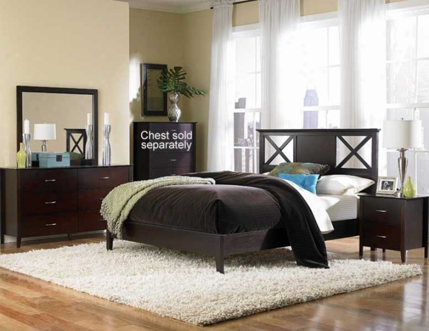 4pc Californja King Size Bedroom Set With Wood Panel Bed In Merlot