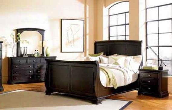4pc California King Size Sleigh Bedroom Set In Espresso Finish