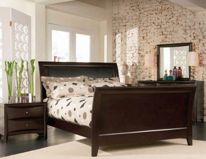4pc California King Sizze Sleigh Bedroom Set In Cappuccino Finish