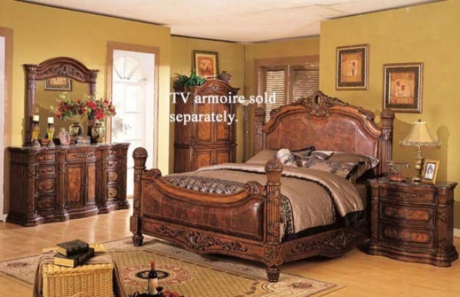 4pc Eastern King Size Bedroom Set Dark Brown Finish