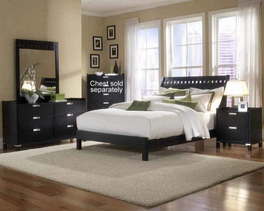 4pc Full Size Bedroom Set Geometric Cutouts Bed In Black