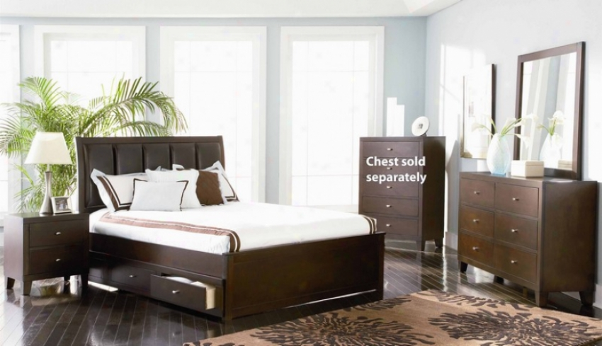 4pc Full Sizing Bedroom Set In Deep Brown Finish