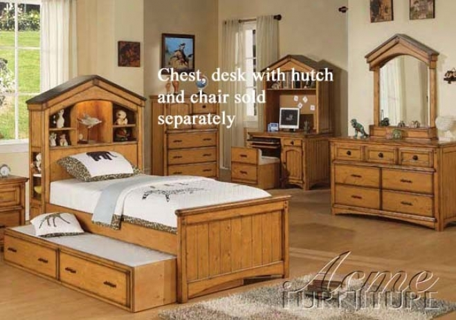 4pc Full Size Bedroom Set Tree House Style In Rustic Oak Fiinsh