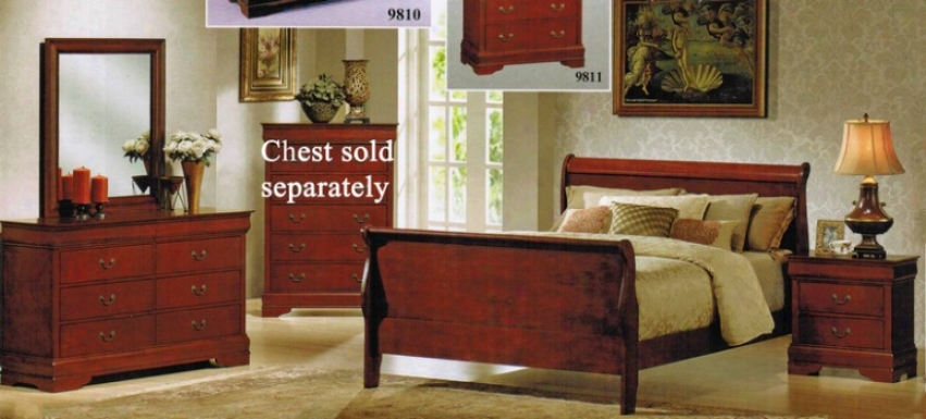 4pc Full Size Bedroom Srt With Hidden Drawers In Cherry Finish