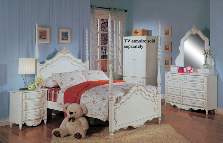 4pc Comprehensive Size Poster Bedroom Set In White ePrl Finish
