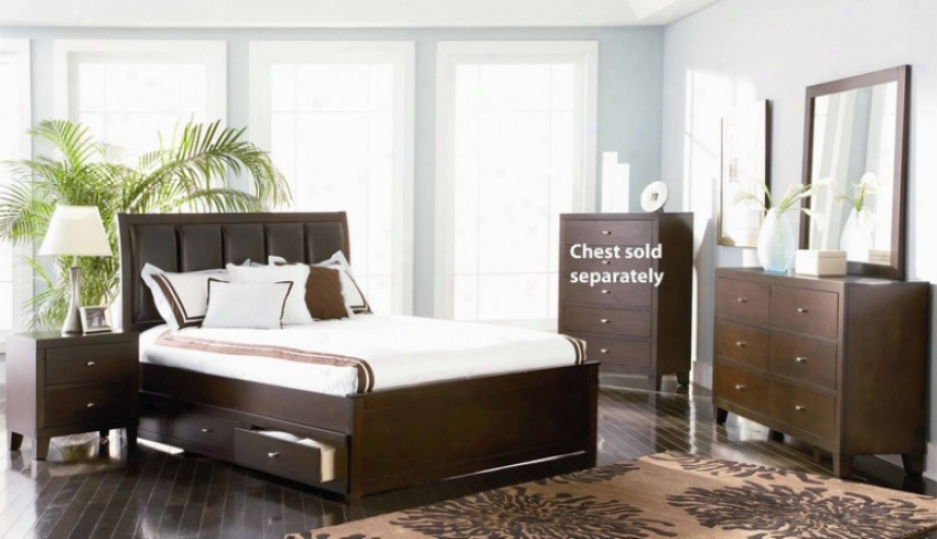 4pc King Size Bedroom Set In Deep Brown Finish