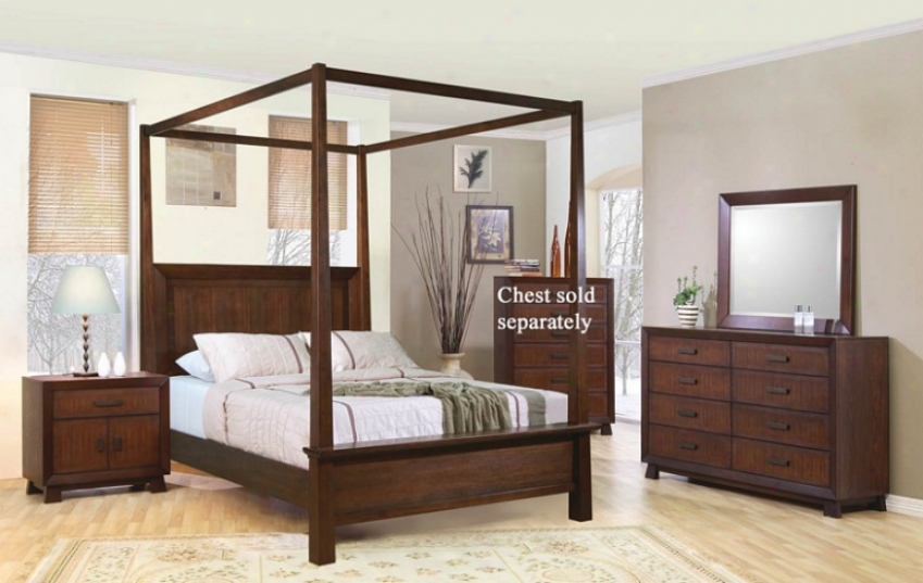 4pc King Size Canopy Bedroom Set In Brown Finish