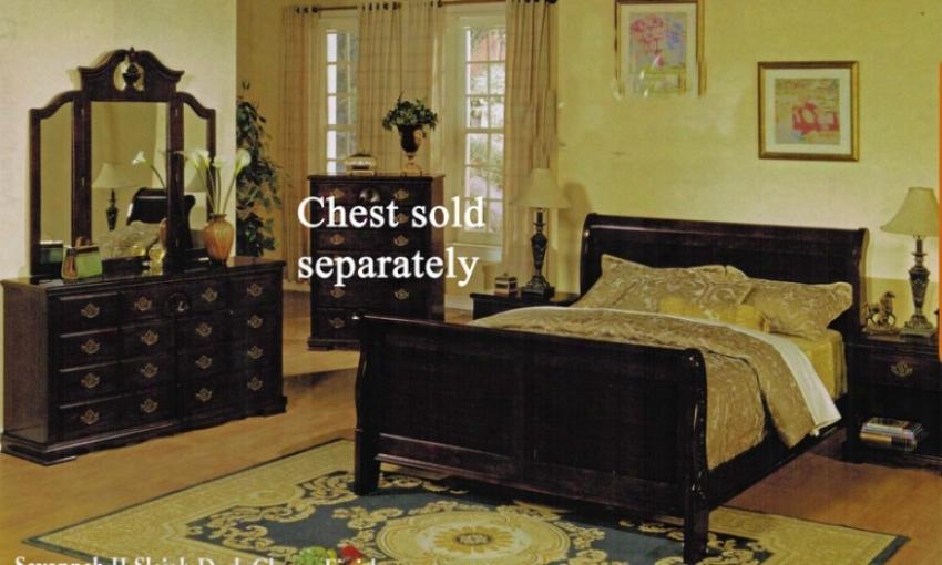 4pc King Size Sleigh Bedroom Set In Dark Cherry Finish