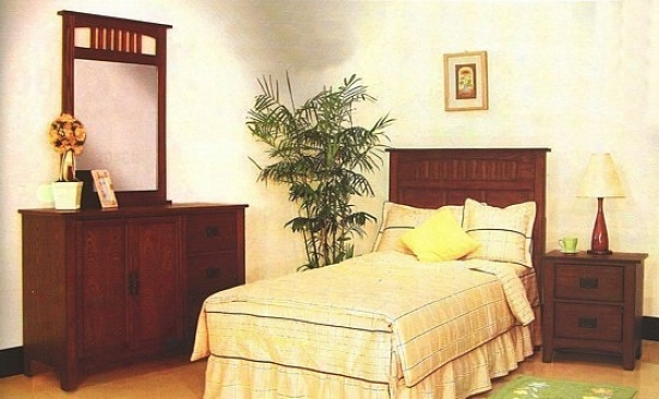 4pc Mission Style Brown Wood Twin Size Bedroom Set