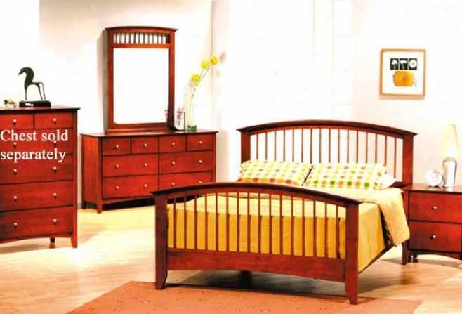 4pc Queen Size Bedroom Set Contemporary Style Cherry Finish