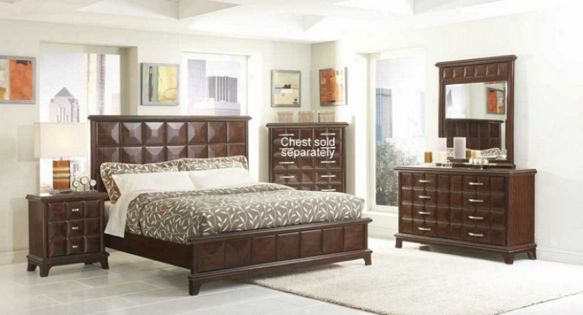 4pc Queen Size Bedroom Set Diamond Square Pattern In Dari Chocolate