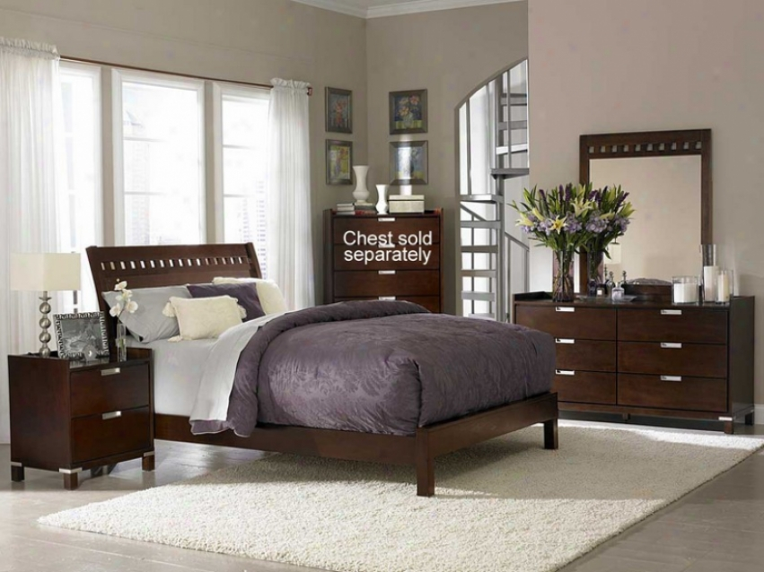 4pc Queen Size Bedroom Set Geometric Cutouts Bed In Cherry
