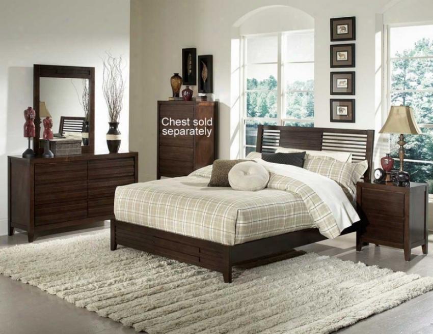 4pc Queen Size Bedroom Set Level Slat Bed In Espresso