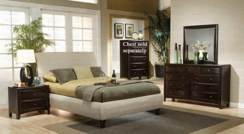 4pc Queen Size Bedroom Set In Beige Fabric Cappuccino End