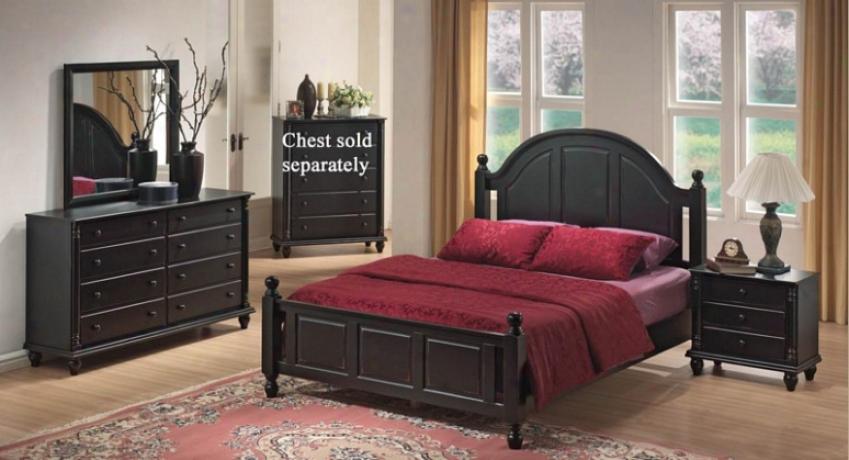 4pc Quueen Size Bedroom Set In Black Finish