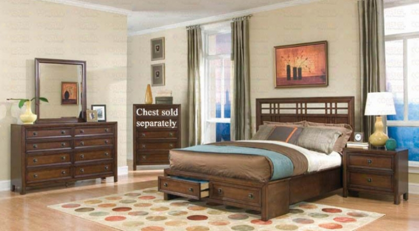 4pc Queen Size Bedroom Set In Walnut Finish