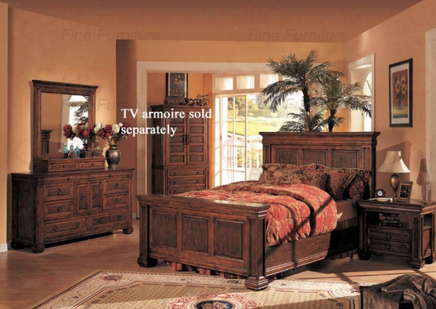 4pc Queen Size Bedroom Sst Old West Style In Cherry Finish