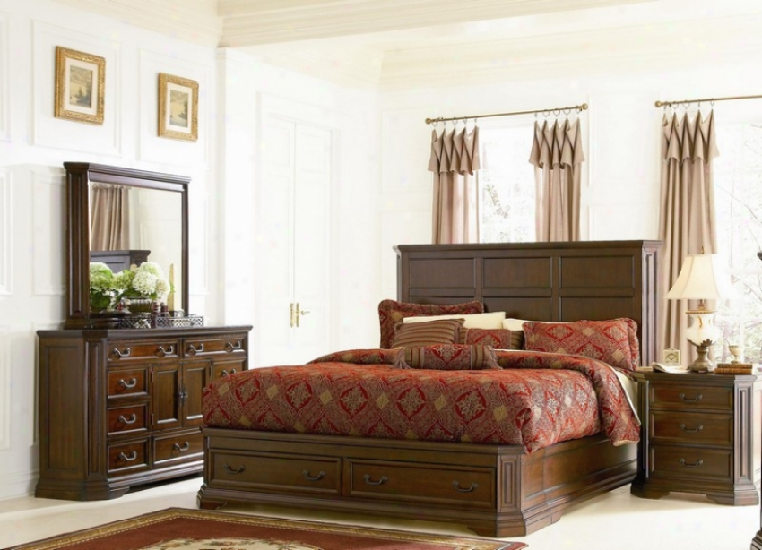 4pc Queen Soze Bedroom Set Traditional Style Deep Brown Finish